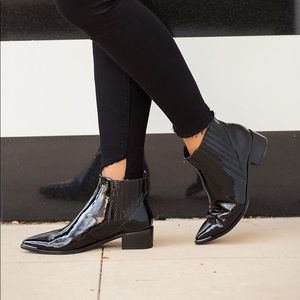 Marc Fisher patent leather ankle boots